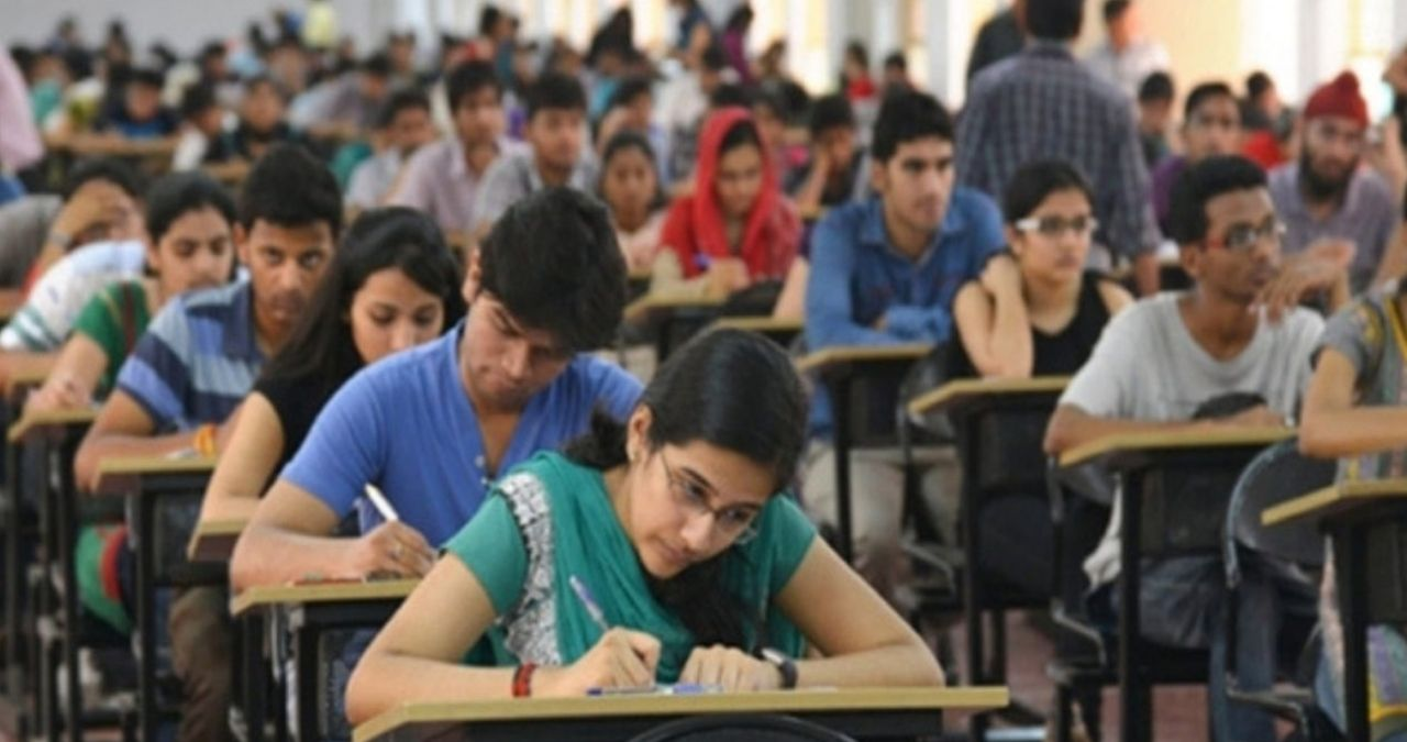 students giving entrance exam